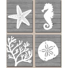 Beach Bathroom Wall Art Canvas or Prints Nautical Coastal Bathroom... ($36) ❤ liked on Polyvore featuring home, home decor, wall art, bathroom, bathroom décor, home & living, silver, photo wall art, sea home decor and sea wall art