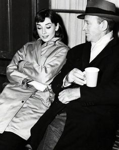 Audrey Hepburn and Fred Astaire taking a break in between filming Funny Face, 1956.