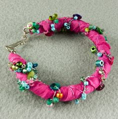 Sari Silk Pink Bracelet  Wire and Bead Wrapped by ArtQueenClaire, $29.00