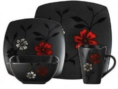 This 16 Piece Dinnerware Set is ideal for everyday use. The Dishes are in a black satin design with blossoms in white and red compliments a black and white kitchen design very well. This Dinner Service includes (4) Square Dinner Plates, (4) Square Salad Plates, (4) Bowls and (4) Mugs. Dishwasher and microwave safe. Free Shipping!
