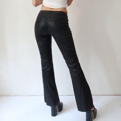 👊🏼👊🏼 Amazing Morgan De Toi raw hem vegan leather flare trousers in black…