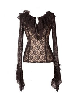 Black Romantic Long Trumpet Sleeves Lace Womens Gothic Blouse