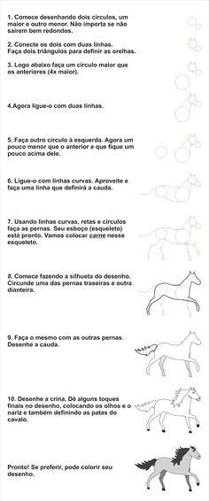 Canozi Desenhos: COMO DESENHAR UM CAVALO EM 10 PASSOS