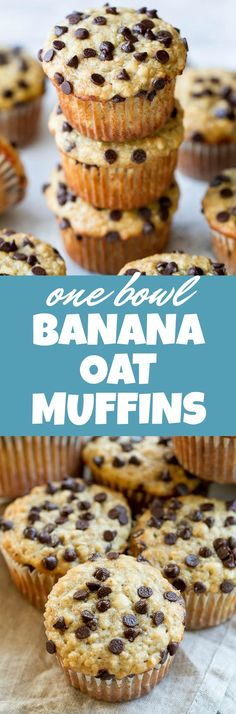 One Bowl Chocolate Chip Banana Oat Muffins - so soft and tender that you'd never guess they're made without butter or oil. Deliciously healthy and SUPER easy to whip up using just one bowl!   runningwithspoons.com