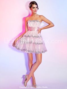 A-line Scalloped Short/Mini Tulle Sequined Cocktail Dress With Ribbon - AUD $ 79.53