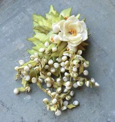 Antique Large Flower Brooch Made of Small Shells-Antique Bridal Corsage on Etsy, $28.00