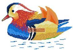Rainbow mandarin duck cross stitch kit
