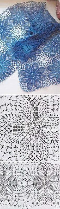 56 Ideas for crochet granny square shawl pattern charts Filet Crochet, Crochet Lace Scarf, Crochet Diagram, Crochet Chart, Thread Crochet, Love Crochet, Crochet Motif, Crochet Doilies, Crochet Stitches