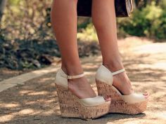 Nude wedges.