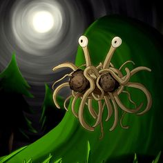 Flying Spaghetti Monster under the moonlight.