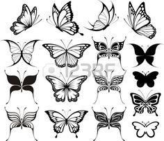 conjunto de mariposas siluetas aisladas sobre fondo blanco