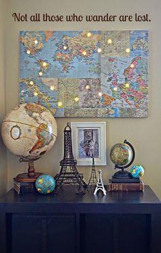 Vintage World Map Globe Astrology Wood Base Stand Antique Atlantic Ocean Gift