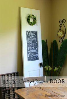 DIY Chalk & Magnet Board Door details @farmhouse40.com #diydecor #farmhouse