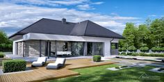 Projekt domu HomeKONCEPT-42 | HomeKONCEPT Modern Family House, Modern House Plans, Modern House Design, Beautiful House Plans, Dream House Plans, Beautiful Homes, Compact House, Ranch Remodel, Exterior