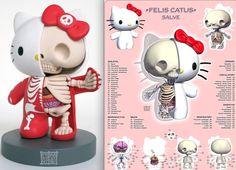 hello kitty skeleton, anatomy, by Jason Freeney
