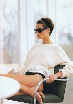 Christy Turlington vintage photo the perfect oversized cream cashmere crewneck.  still searching!  -Maria Dueñas Jacobs