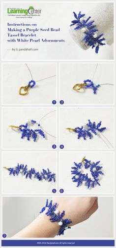 Instructions on Making a Purple Seed Bead Tassel Bracelet with White Pearl Adornments Seed Bead Jewelry, Bead Jewellery, Wire Jewelry, Jewelry Crafts, Seed Beads, Beaded Jewelry, Beaded Braclets, Tassel Bracelet, Bracelets