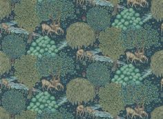 The Brook Navy wallpaper by Morris