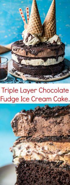 Triple Layer Chocolate Fudge Ice Cream Cake | http://halfbakedharvest.com /hbharvest/