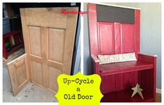 Rescue a Door and Up-Cycle It! Rescued Door repurposed into a bench. All up-cycled materials. From an old table and door to a bench! DIY Full Tutorial