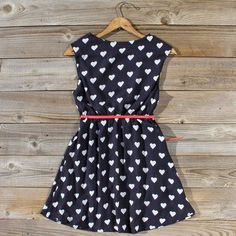 Adorable Hearts Printed Summer Little Dress