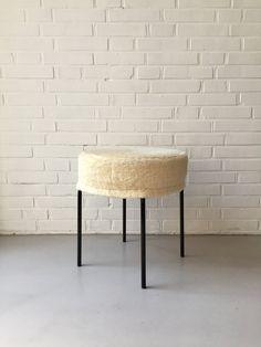 Vintage Hocker, Kleiner Stuhl, Hocker Plüsch, String Design Hocker,  Nierentisch, Rockabilly