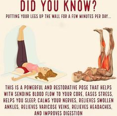 Legs Up the Wall Pose (or Viparita Karani) is a restorative yoga posture that allows the mind and the body to relax, relieving stress and… Fitness Hacks, Fitness Workouts, Sport Fitness, Yoga Fitness, At Home Workouts, Fitness Legs, Health And Wellness, Health Tips, Health Fitness