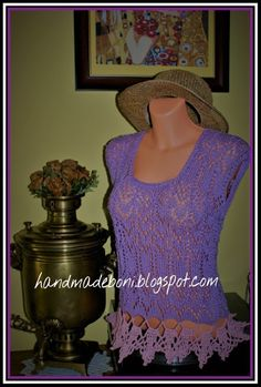 HandmadeBoni: Liliowa ażurowa bluzeczka  - zrób razem ze mną :-)...