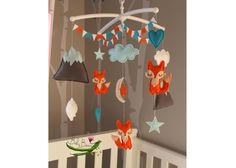 With MUSICAL CRIB ATTACHMENT. Fox woodland themed rotating musical mobile. Made to order. Baby Beans Nz by BabyBeansNZ on Etsy https://www.etsy.com/listing/245330220/with-musical-crib-attachment-fox