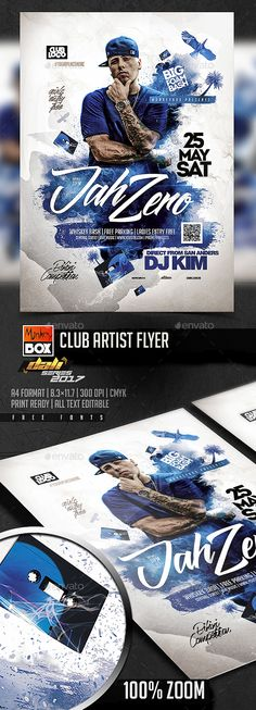 Buy Club Artist Flyer by MonkeyBOX on GraphicRiver. Flyer Design, Logo Design, Print Design, Identity, Flyer Printing, Club Flyers, Cool Business Cards, Party Poster, Branding
