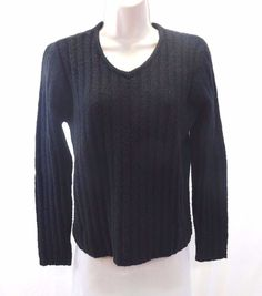 THE LIMITED Black Ribbed Women's Large Sweater Wool Blend #TheLimited #VNeck