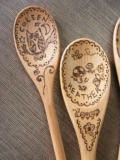 Wood burned spoons as gifts