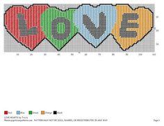 LOVE Hearts Plastic Canvas Ornaments, Plastic Canvas Crafts, Plastic Canvas Patterns, Valentine Theme, Valentine Day Crafts, Valentine Ideas, Valentines, Needlepoint Patterns, Cross Stitch Patterns