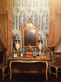 Blue room of the Villa di Geggiano, near Siena Italy. Original trompe l'oeil wallpaper & furniture date to the 1770's.