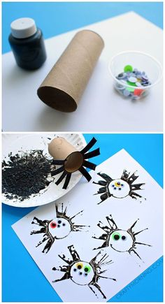 Toilet paper roll spider stamping craft for kids on Halloween!