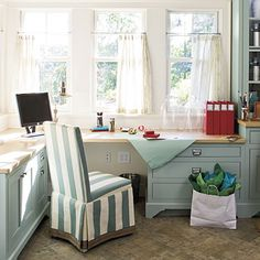 Keep clutter out of the kitchen and incorporate a desk into your laundry room. Be sure to have plenty of desktop space to spread out projects. And don't forget to add as many drawers as you can.