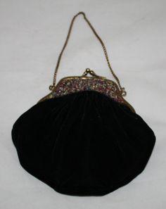 Vintage Evening Bag Black Velvet with Beaded