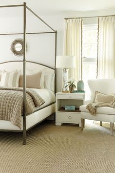 "If It Were Mine  - ""I chose this simple design because Lisa has a green painted nightstand/dresser and chest for the foot of the bed.  She also has some antique dressers and a vanity and stool she'd like to use.  I think a simple and striking bed and accessories would ground the space and **BALANCE THE ANTIQUES**."""