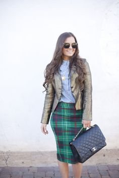 Pencil Skirt  Fashion, Style, Chanel, Outfit Ideas, Outfit Inspiration, Miu Miu Sunglasses, Gold, Hair, Fashion Blogger, Style Blogger