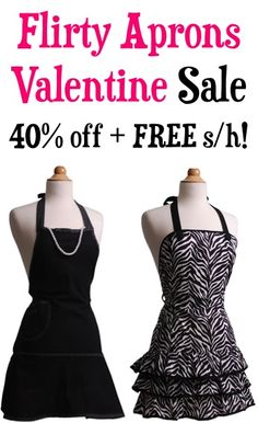 Flirty Aprons Valentine Sale: 40% off + FREE Shipping! #apron #thefrugalgirls...what husband would not like these??