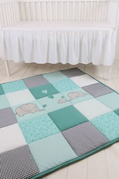 Baby Floor Blanket, Elephant Baby Play Blanket, Baby Play Mat, Mint Green, Teal Blue, Gray by Customquiltsbyeva on Etsy