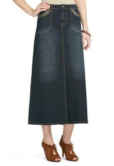 Cato Fashions Stitched Chop Pocket Denim Skirt CatoFashions