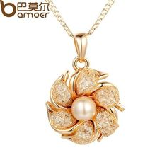 BAMOER Champagne Gold Plated Necklaces Pendants Simulated Pearl