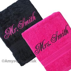 His and Hers Personalised Towels Pink and Black Bath Set