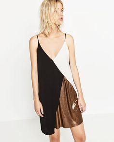 Image 2 of BLOCK COLOUR METALLIC DRESS from Zara