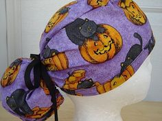 $13.99 This scrub hat has the sweetest GRAYISH BLACK KITTIES on it, sitting on top of SMILING CARVED ORANGE JACK 'O LANTERNS. It is done on...