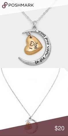 """I ♥ You To the Moon and Back"" Pendant Necklace • Color : Matte Silver • Theme : Heart  • Necklace Size : 16"" + 2"" L • Pendant Size : 1"" X 1.25"" • ""I ♥ You To the Moon and Back"" Crescent & Heart Pendant Necklace Jewelry Necklaces"