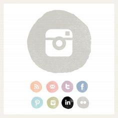 watercolour circle social buttons