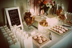 "We can set up a ""cookie and milk"" bar. If you find bags you like it can even double as favors for you guests."