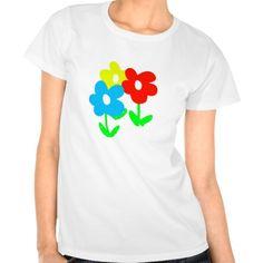 Spring flowers artwork on a white t-shirt